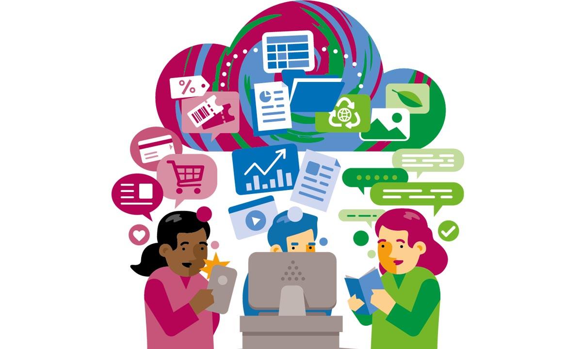 Illustration på tre personer som tar del av information på dator, mobil och i en bok.